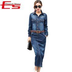 New 2016 Spring Blue Open Slit Long Jeans Dress Women Long Sleeve Bodycon Vestido Jeans With Buttons Pockets Denim Pencil Dress
