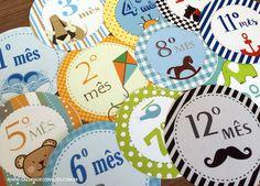 Adesivos de mesversário para meninos. Kit com 12 adesivos para colar na roupinha do bebê e marcar cada mês de vida do seu filho. São 12 temas diferentes, um mais lindo que o outro.