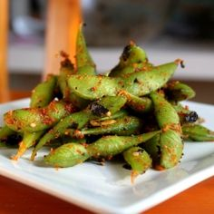 Try this easy spicy edamame recipe for a healthy snack!