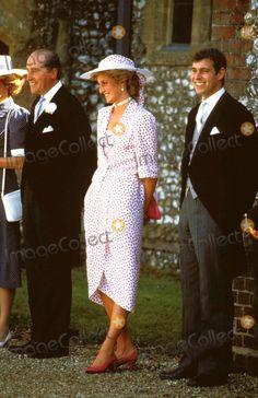 July 20, 1985: Princess Diana with Prince Andrew at the wedding of Hon. Carolyn Hebert to John Warren at Highclere, Berkshire. Photo by Alpha/Globe Photos, Inc.