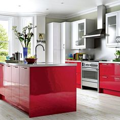 Cooke & Lewis High Gloss Red kitchen from B