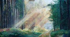 Patricia Villegas óleo ORIGINAL paisaje en Ecuador 140 x 90 aprox (pintura original, inspirada en fotografía)