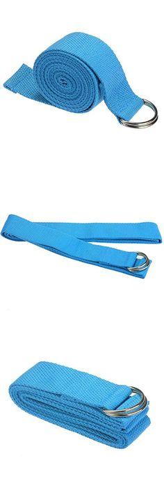 Yoga Belt,OUBAO Yoga Stretch Strap D-Ring Belt Waist Leg Fitness 180CM Adjustable (Blue)