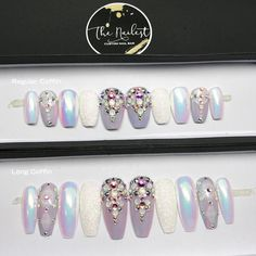 ***IMPORTANT: Please be aware of process time (read FAQ) and make sure your nail size is correct as we are not responsible if the wrong size is ordered*** HANDMADE SET- Unicorn Chrome Crystal Pastel Iridescent Glitter Press On Nails Glam Nails, Bling Nails, Beauty Nails, Cute Nails, Pretty Nails, My Nails, Stick On Nails, Glue On Nails, Nailart