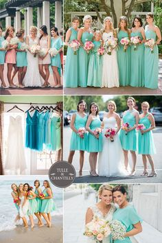 Teal is the new thing! We love how summery and fresh seaside weddings can be paired with colors like these. The dresses are making us miss the sandy feeling on our toes. Don't forget to top it off with blossoming flowers and you're good to go!