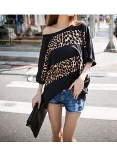 Black Sheer Leopard Top