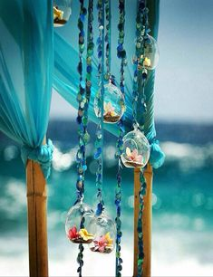 Blue + Beach + Party Wedding Details with beads and flowers