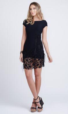 Vestido Guipir Pedraria Plumas - Agatha e-Store
