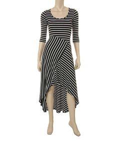 Black Stripe Hi-Low Dress   zulily