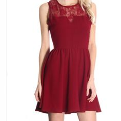 Burgandy lace upper dress Burgundy Crochet dress  Burgundy close neck dress equipped with a gorgeous lace upper. Only have small available. Smoke free home. Wholesale items may or may not have hang tags, but are brand new. Boutique Dresses Mini