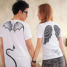 Devil & Angel Print Tee... this pair of couple's tees are super cute #Couple wear