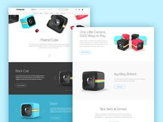 Polaroid Cube designed by Victor Belinatti. Connect with them on Dribbble; Polaroid Cube, Web Design, Little Camera, Marketing Websites, Projects, Apps, Log Projects, Design Web, Blue Prints