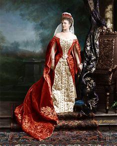 Baronesa Graevenitz en traje de corte rusa