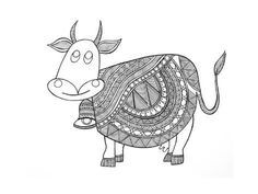 size: Art Print: Animals Cow 3 by Neeti Goswami : Black And White Lines, Black And White Drawing, Animal Drawings, Art Drawings, Drawing Animals, Framed Artwork, Wall Art, Doodles Zentangles, 3 Arts
