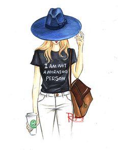 Fashion illustration,Fashion art,Fashion sketch,Fashion wall art, Fashion print,Fashion poster,Girly sketch,Titled-I am not a morning person