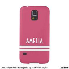 Deco Stripes Name Monogram Pink White Galaxy S5 Cases