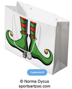 Christmas Golf Elf Feet Large Gift Bag by SportsArtZoo #golf #Christmas #giftbag