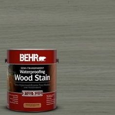 BEHR 1-gal. #ST-137 Drift Gray Semi-Transparent Waterproofing Wood Stain --   This is what we used -- NOT SEMI TRANSPARENT WHEN SPRAYED ON!  Beware. Already Peeling in the first 3 weeks after application.  Not a well rated product. DO NOT Reccommend!!