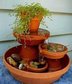 Creating a unique garden fountain isn't as difficult as it may seem. You can even include materials that may be collecting dust around your house.