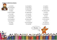 Διόρθωσε τα λάθη όπου υπάρχουν. το πεπόνι το σταφύλη το τιμόνυ το λουλούδη το ζευγάρη το λιμάνη το γυαλή το καρπούζι το πι... Greek Language, School Lessons, Home Schooling, Speech Therapy, Special Education, Elementary Schools, Spelling, Worksheets, Teaching