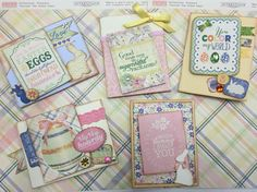 Easter cards using Authentique paper and stickers.