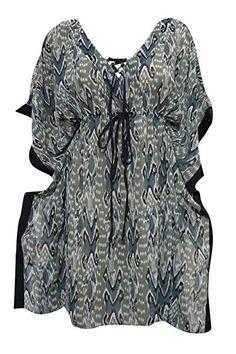 07596237ff9 Mogul Women s Short Boho Chic Kaftan Green Printed Boho Caftan Dress L Ikat  Print