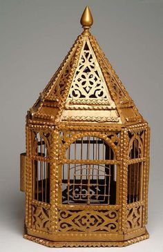 1930's TRAMP ART Bird Cage with fretwork by vintagebitsblitz