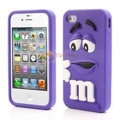 PIZU #M Bean Candy Smell Jelly Silicone Case for iPhone 4 4S - Purple