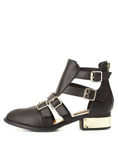 Dollhouse Belted & Gold-Plated Ankle Boots: Charlotte Russe