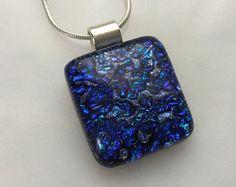 Dichroic Heart Pendant Fused Glass Jewelry by AngelasArtGlass