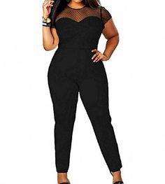 ff4236dcfc3 NQ Women Plus Size Mesh See Through Fine Playsuit Jumpsuit Pant Black 2X  Pant Jumpsuit,