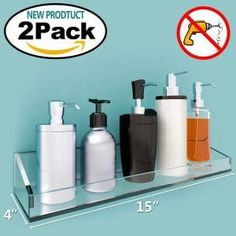 Vdomus Acrylic Bathroom Shelves, Wall Mounted Non Drilling Thick Clear Storage & Display Shelvings, 2 Pack (Original) Bathroom Wall Shelves, Floating Wall Shelves, Kitchen Cabinets In Bathroom, Wall Mounted Shelves, Wood Shelves, Display Shelves, Display Case, Shelving, Kitchen Wood