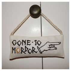 """Lord of the Rings """"Gone to Mordor"""" Door Hanger Chart for Cross Stitch ($6.50) ❤ liked on Polyvore"""