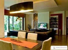 Modern nappali meleg színekkel