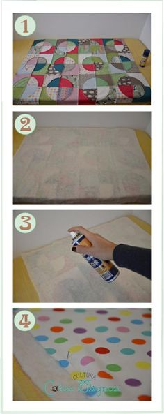 Union de piezas del quilt con spray