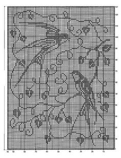 charted tree swallows suitable for cross stitch, crochet or net weaving.