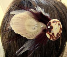Feather Hair Barrette  Burgundy Beige and by peacefrogdesigns, $14.00