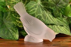Lalique Crystal Bird Sparrow Head Down