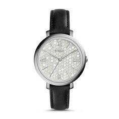 Jacqueline Black Leather Watch