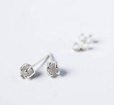 Rough diamond and silver ear studs diamond earrings