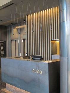 hotel reception Front Office Design Pictures Contemporary Aluminium Pendant Lamp Match By Vibia Design Jordi Vilardell Hotel Reception Desk Reception Counter Interior Design The Wood Slats Remind Me Of Hannahs Post Of The Conference Room Design Entrée, Design Room, Front Design, Design Trends, Design Concepts, Design Styles, Logo Design, Lobby Reception, Reception Areas