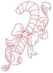 Candy Cane Redwork embroidery design