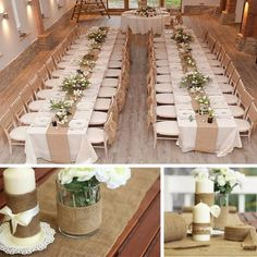 OurWarm Vintage Hessian Jute Burlap Roll for Wedding Party Table Runner Banquet Home Decoration Party Supplies – Dekoration Wedding Crafts, Diy Wedding, Wedding Reception, Wedding Ideas, Long Table Wedding, Burlap Wedding Tables, Picnic Table Wedding, Burlap Weddings, Burlap Party