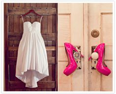 Love the Bride's future last name twisted in wire on the hanger. Also love the hot pink heels