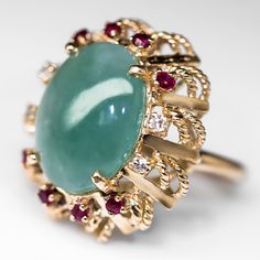 Vintage+Jade+Cocktail+Ring+Diamond+&+Ruby+Accents+14K+Gold