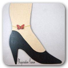 bijou, bracelet cheville papillon soie rouge 3.5 cm montage doré, bijou corps, été, romantique, collection Mia, made in France