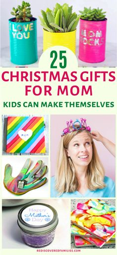 Need some DIY Christmas gifts for Mom or Grandma? We've got everything from flower pots to footprint art. And the best part? They are super easy for children to make. Click over and check out our ideas. Which one will you choose? Easy Diy Gifts, Simple Gifts, Mothers Day Crafts, Happy Mothers Day, Kid Made Christmas Gifts, Christmas Crafts, Kindergarten Gifts, Christmas Activities, Math Activities