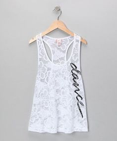 Take a look at this White Dance Crocheted Lace Tank - Girls by Dancewearables on #zulily today! I need this! #danceoutfits