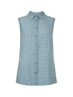 Sleeveless Dot Shirt