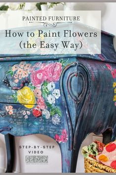 The easiest way to DIY your home decor -- with floral painted furniture. Using IOD Stamps, learn how to hand paint flowers for your next dresser makeover. Floral Painted Furniture, Bohemian Furniture, Paint Furniture, Redoing Furniture, Funky Furniture, Diy Dresser Makeover, Furniture Makeover, Dresser Makeovers, Furniture Update
